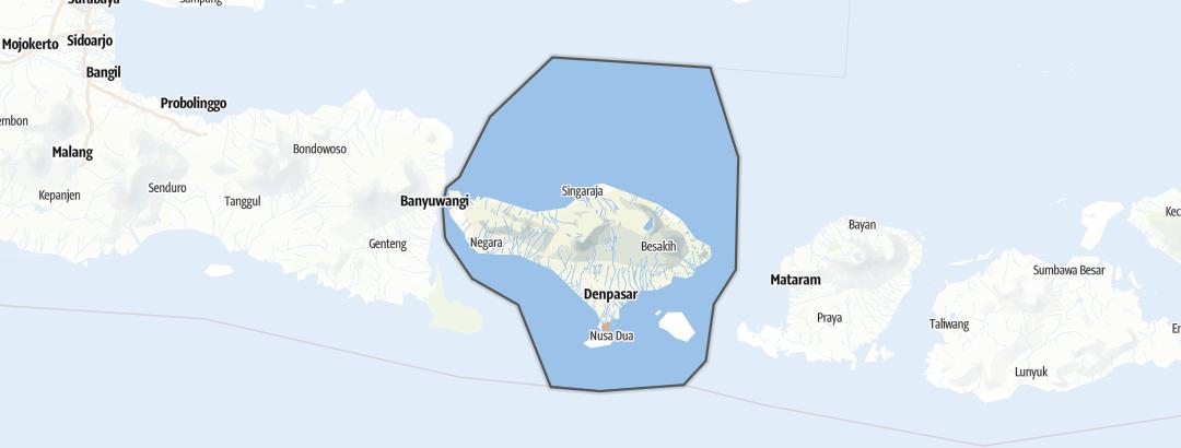Mapa / Rutas de senderismo en Bali