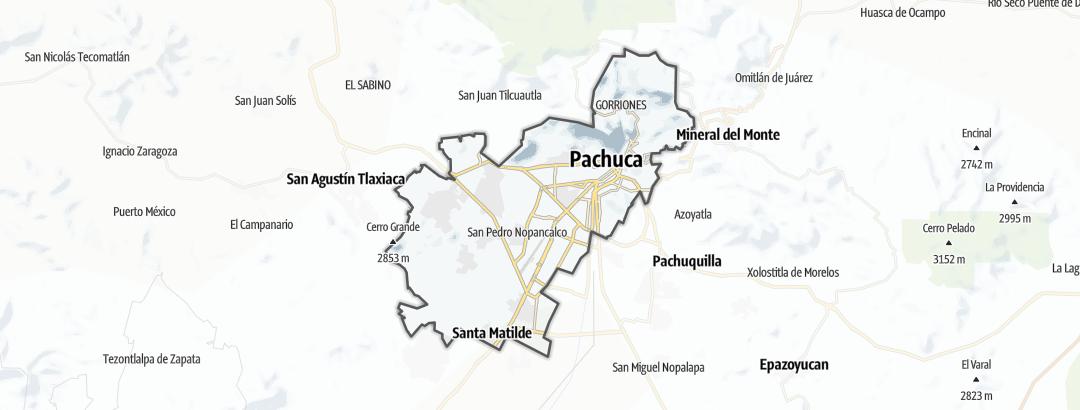 Mapa / Rutas BTT en Pachuca de Soto