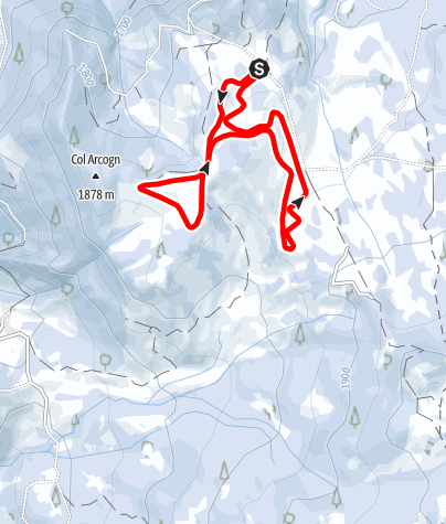 Map / The cross-country skiing trails in the Armentara meadows - Sas dla Crusc
