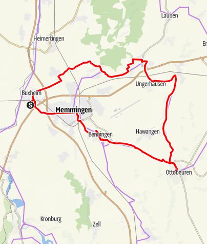 Karte / Aktiv Park Tour West - Abkürzung Ottobeuren