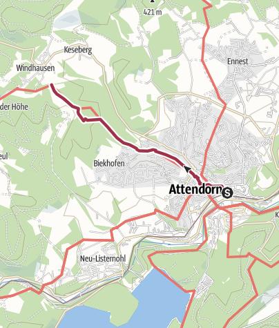 Karte / Zugangsweg Sauerland-Höhenflug: Von Attendorn nach Windhausen zum Sauerland-Höhenflug