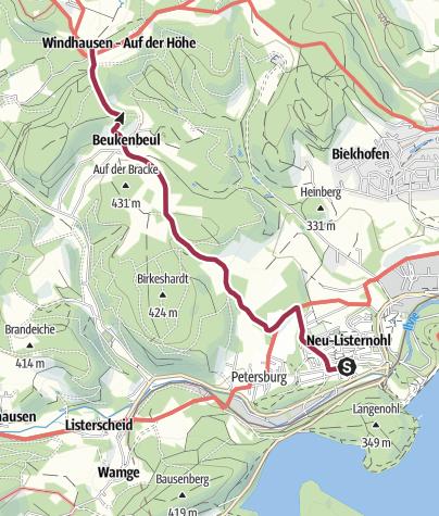 Karte / Zugangsweg Sauerland-Höhenflug: Von Neu-Listernohl zum Sauerland-Höhenflug