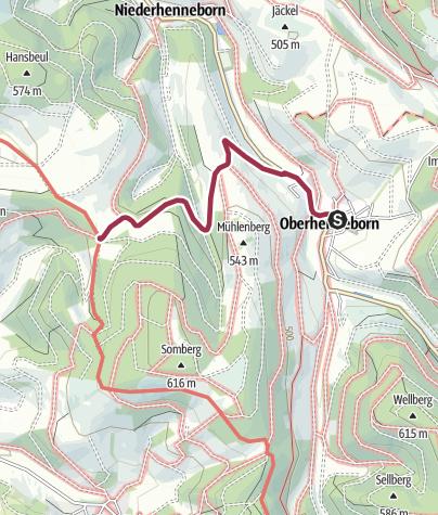Karte / Zugangsweg Sauerland-Höhenflug: Von Oberhenneborn zum Sauerland-Höhenflug