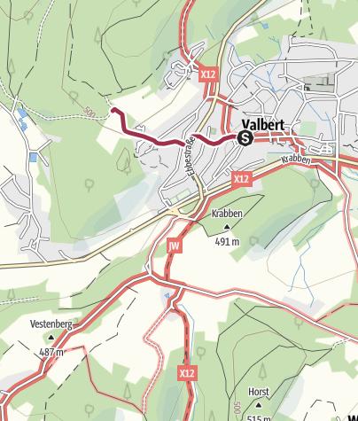 Karte / Zugangsweg Sauerland-Höhenflug: Von Valbert zum Sauerland-Höhenflug