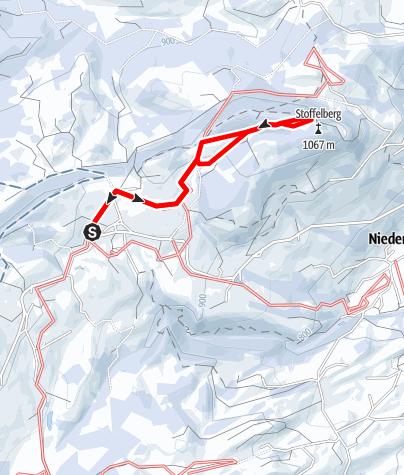 Karte / Panorama-Winterwanderweg(e) am und um den Stoffelberg (kleine Runde)