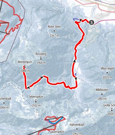 Karte / Brentenjoch von Vils über Vilser Alpe und Vilser Jöchl