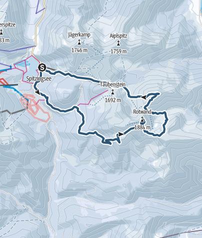Karte / Rotwand und Hochmiesing - die klassiche Rotwandreibe