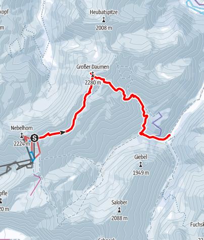 Karte / Großer Daumen - große Allgäuer Skitour mit Seilbahnunterstützung