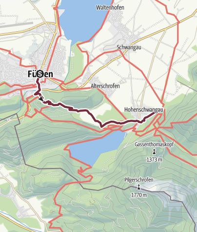 Map / König-Ludwig-Weg Etappe Füssen-Hohenschwangau