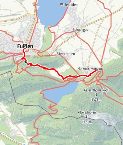 Karte / König-Ludwig-Weg Etappe Füssen-Hohenschwangau