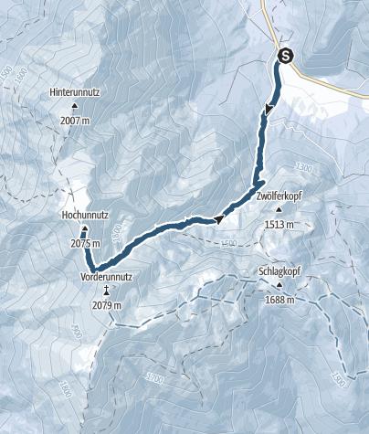 Karte / Hochunnütz - grimmige Frühjahrstour von Steinberg am Rofan