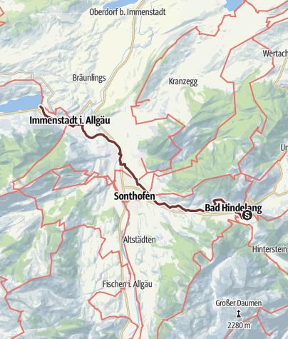 Map / Jakobsweg Etappe 6 Bad Hindelang- Immenstadt/Bühl