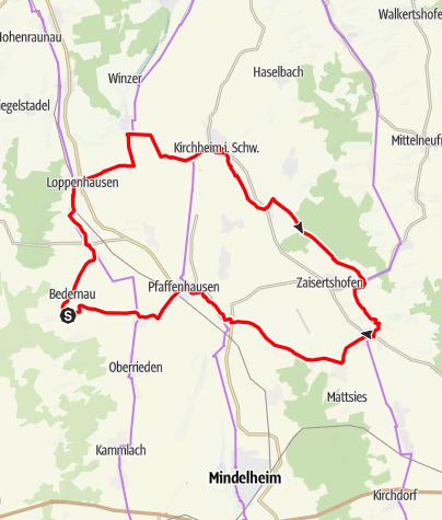 Karte / Aktiv Park Tour Ost - Abkürzung Bedernau