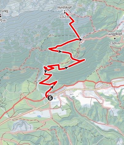 Karte / Gnadenwald - Hinterhornalm - Hundskopf
