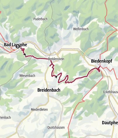 Karte / Lahnwanderweg 03. Etappe Bad Laasphe – Biedenkopf