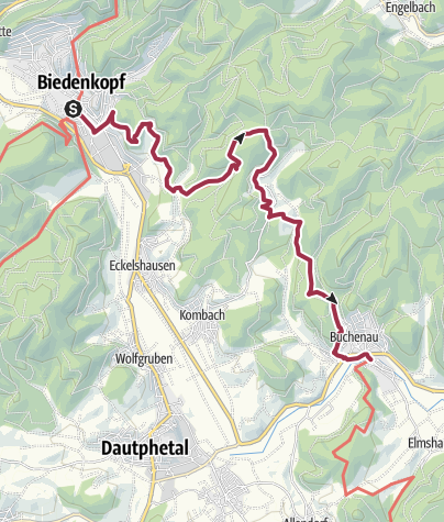 Karte /  Lahnwanderweg 04. Etappe Biedenkopf – Buchenau
