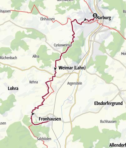 Karte / Lahnwanderweg 07. Etappe Marburg – Fronhausen