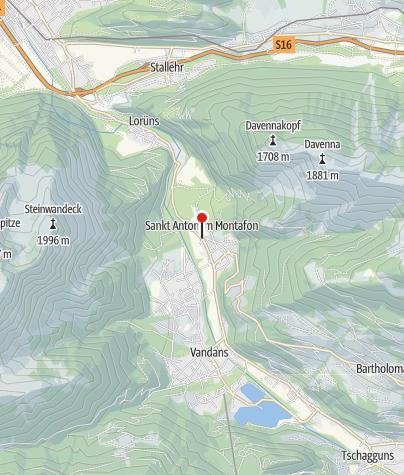 Karte / St. Anton im Montafon, Katholische Pfarrkirche Heiliger Antonius Eremit mit Friedhof