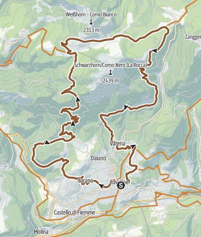 Cartina / Percorso dei passi e delle malghe: Passo Cugola - Oclini Tour 924