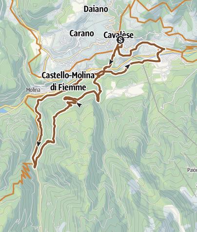 Cartina / Percorso della cascata : Val Cadino- Tour 925