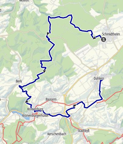 Karte / GPS-Tour: EifelBahnSteig 9. Etappe: Von Schmidtheim nach Dahlem - Einsame Weiher, mittelalterliches Kronenburg, Kyll-Aue und die Höhen über Dahlem