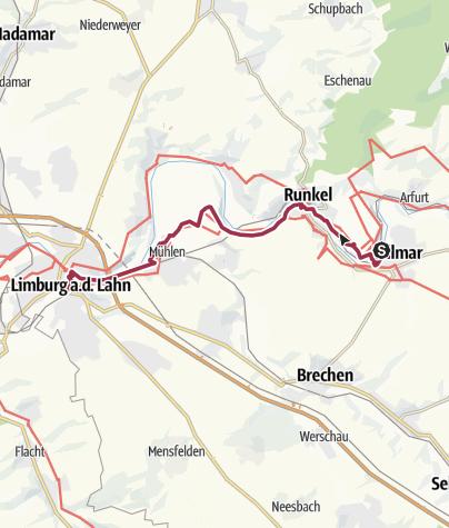 Karte / Lahnwanderweg 15. Etappe Villmar – Limburg