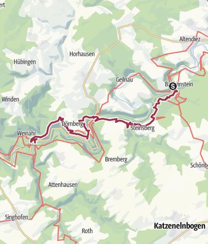 Karte / Lahnwanderweg 17. Etappe Balduinstein – Obernhof