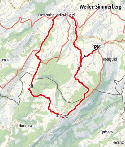 Karte / Bäche, Schluchten, Moore - Westallgäuer Wasserweg 9 - Einstieg Oberreute