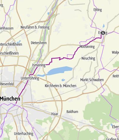 Karte / Expressroute Erding - München Maximilianeum