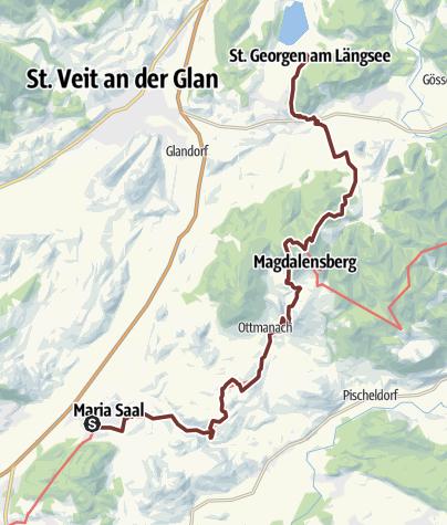 Karte / Hemmapilgerweg Route Sveta Ana, 4. Etappe: Maria Saal - St. Georgen/Längsee