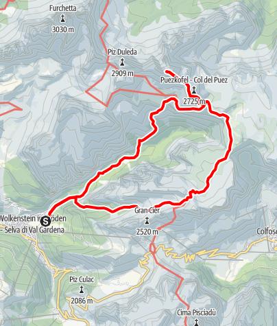 Karte / Puezspitze (2913m) über das Val de Chedul und Längental