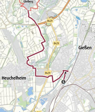 Karte / Lahnwanderweg - Zuweg Gießen zum Lahnwanderweg