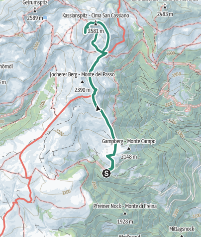 Karte / Kassianspitze (2581m) und Latzfonser Kreuz (2311m) vom Parkplatz Kasereck (1961m)