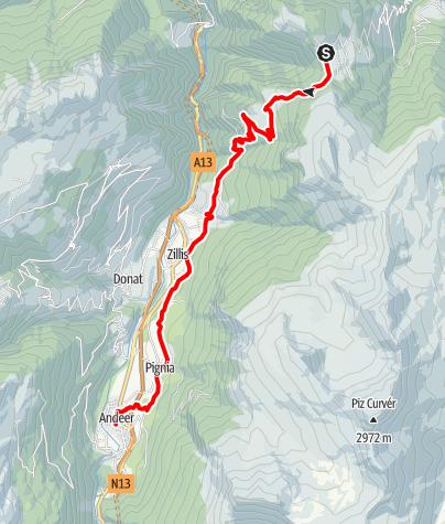 Map / 35.07 Walserweg Graubünden Etappe 7: Obermutten - Andeer