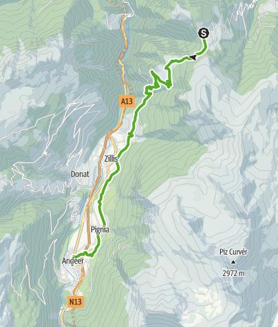 Karte / 35.07 Walserweg Graubünden Etappe 7: Obermutten - Andeer