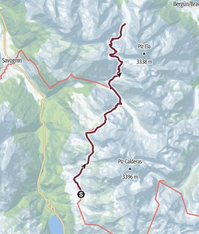 Map / 35.11 Walserweg Graubünden Etappe 11: Alp Flix - Chamonas d'Ela