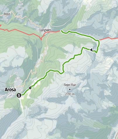 Kaart / 35.16 Walserweg Graubünden Etappe 16: Arosa - Langwies