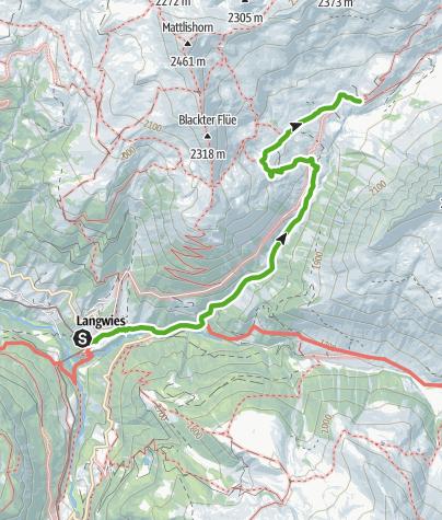 Karte / 35.18 Walserweg Graubünden Etappe 18: Langwies - Strassberg, Fondei