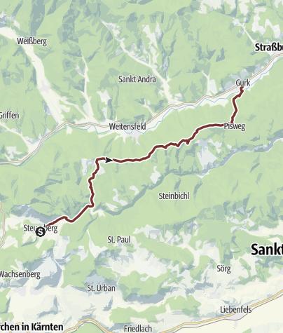 Karte / Hemmapilgerweg Route Ossiach, 2. Etappe: Steuerberg - Gurk