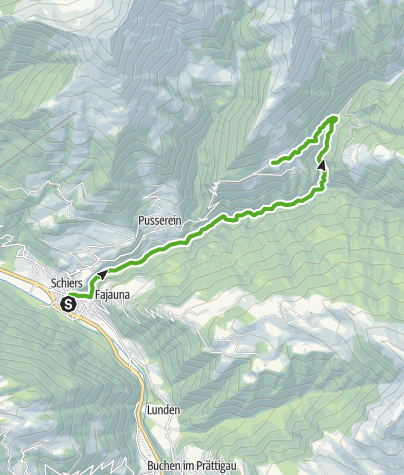 Map / Through the romantic gorge of the brook 'Schraubach' from Schiers to Schuders