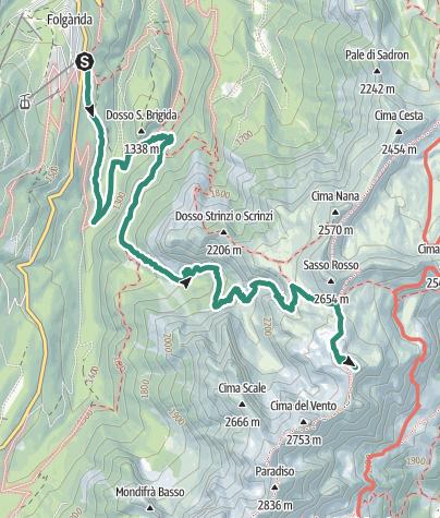 Karte / Valle del Vento – Cima Benon
