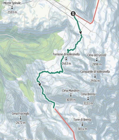 Karte / Brenta Trek - Etappe 1 - Rif. Stoppani – RIf. Brentei
