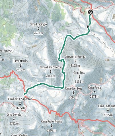 Cartina / Brenta Trek - Tappa 2 - RIf. Brentei – RIf. XII Apostoli