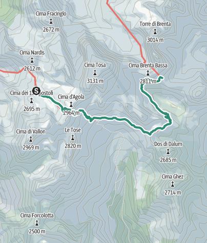 Karte / Brenta Trek - Etappe 3 - Rif. XII Apostoli – Rif. Pedrotti
