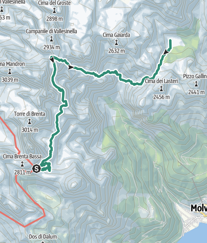 Cartina / Brenta Trek - Tappa 4 - Rif. Pedrotti – Malga Spora