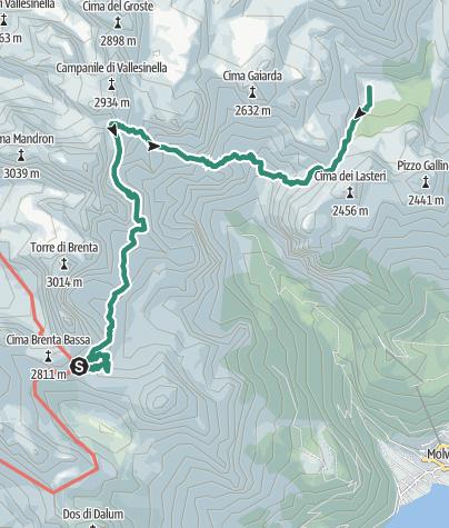 Map / Brenta Trek - Etappe 4 - Rif. Pedrotti – Malga Spora