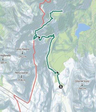 Karte / Brenta Trek - Etappe 6 - Malga Flavona – Rif. Peller