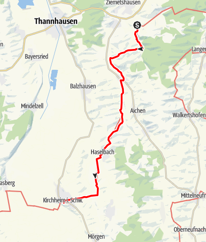 Karte / Jakobsweg - West Etappe 1: Ziemetshausen / Maria Vesperbild -  Kirchheim