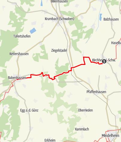 Karte / Jakobsweg - West Etappe 2: Kirchheim - Babenhausen