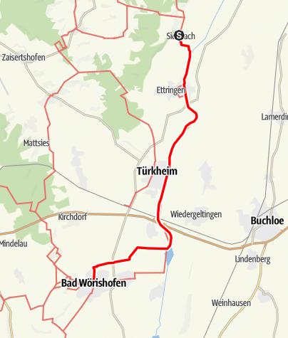 Karte / Jakobsweg - Ost Etappe 1: Siebnach - Bad Wörishofen